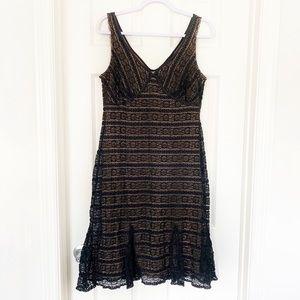 NY & Co Black Lace Pinup Retro Cocktail Dress Sz M